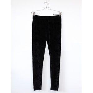 Connection 18 Black Velvet Textured Leggings NWT L